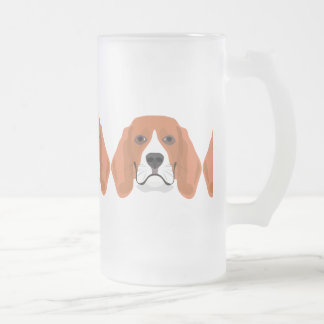 Illustration dogs face Beagle Frosted Glass Beer Mug