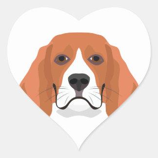 Illustration dogs face Beagle Heart Sticker