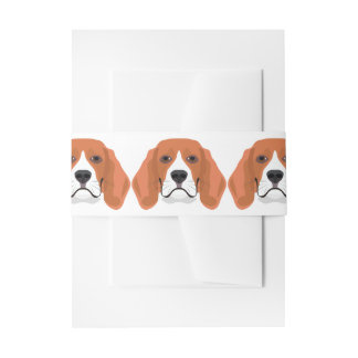Illustration dogs face Beagle Invitation Belly Band