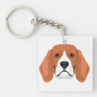 Illustration dogs face Beagle Keychain
