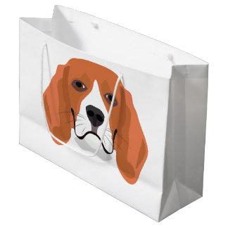 Illustration dogs face Beagle Large Gift Bag