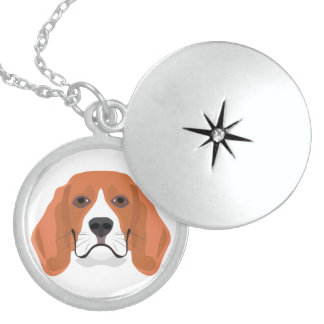 Illustration dogs face Beagle Locket Necklace