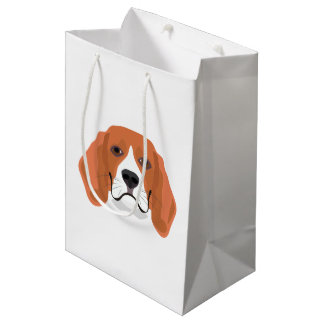Illustration dogs face Beagle Medium Gift Bag