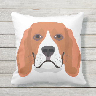 Illustration dogs face Beagle Outdoor Pillow