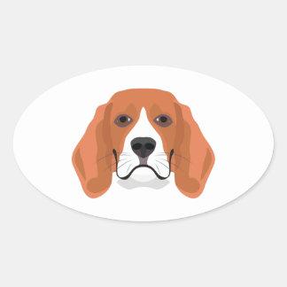 Illustration dogs face Beagle Oval Sticker