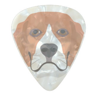 Illustration dogs face Beagle Pearl Celluloid Guitar Pick