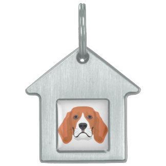Illustration dogs face Beagle Pet Name Tag