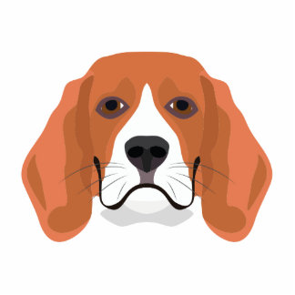 Illustration dogs face Beagle Photo Sculpture Button