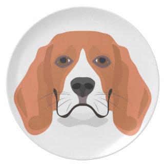 Illustration dogs face Beagle Plate