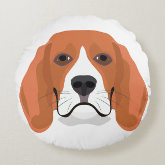 Illustration dogs face Beagle Round Pillow