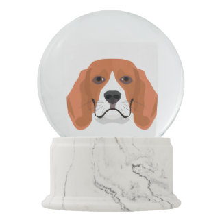 Illustration dogs face Beagle Snow Globe
