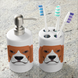 Illustration dogs face Beagle Soap Dispenser And Toothbrush Holder