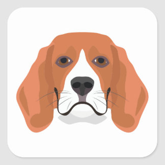 Illustration dogs face Beagle Square Sticker