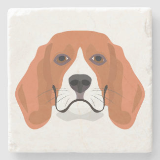 Illustration dogs face Beagle Stone Coaster