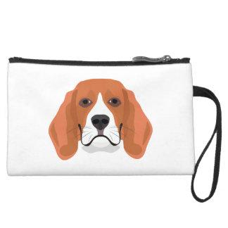 Illustration dogs face Beagle Suede Wristlet