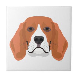 Illustration dogs face Beagle Tile