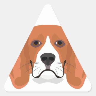 Illustration dogs face Beagle Triangle Sticker