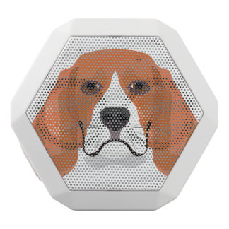 Illustration dogs face Beagle White Bluetooth Speaker