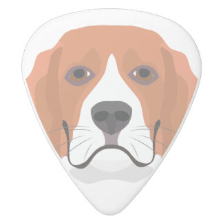 Illustration dogs face Beagle White Delrin Guitar Pick