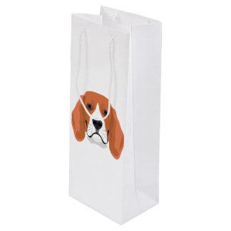 Illustration dogs face Beagle Wine Gift Bag
