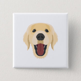 Illustration dogs face Golden Retriver 2 Inch Square Button