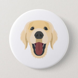 Illustration dogs face Golden Retriver 3 Inch Round Button