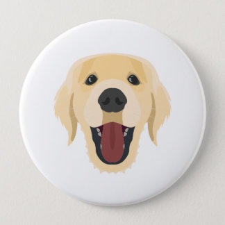 Illustration dogs face Golden Retriver 4 Inch Round Button