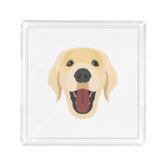 Illustration dogs face Golden Retriver Acrylic Tray