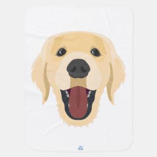 Illustration dogs face Golden Retriver Baby Blanket
