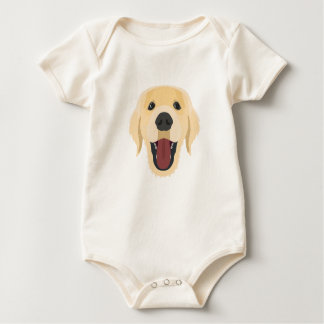 Illustration dogs face Golden Retriver Baby Bodysuit
