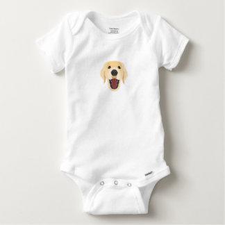 Illustration dogs face Golden Retriver Baby Onesie