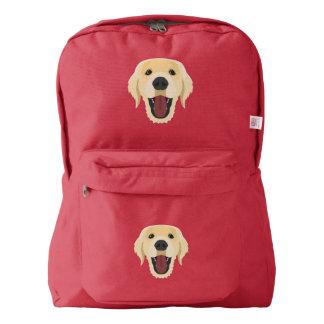 Illustration dogs face Golden Retriver Backpack
