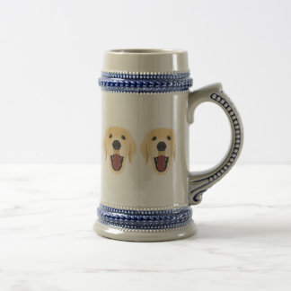 Illustration dogs face Golden Retriver Beer Stein