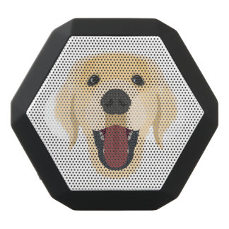 Illustration dogs face Golden Retriver Black Bluetooth Speaker