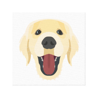 Illustration dogs face Golden Retriver Canvas Print