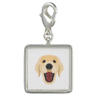 Illustration dogs face Golden Retriver Charm