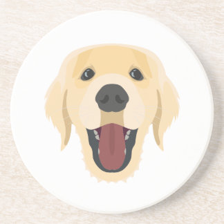 Illustration dogs face Golden Retriver Coaster