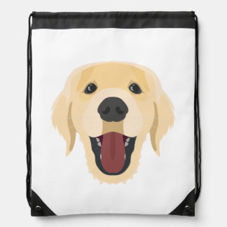 Illustration dogs face Golden Retriver Drawstring Bag