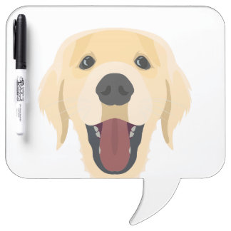 Illustration dogs face Golden Retriver Dry Erase Board