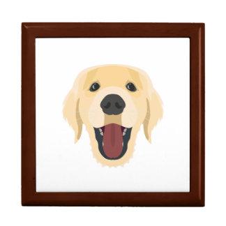 Illustration dogs face Golden Retriver Gift Box