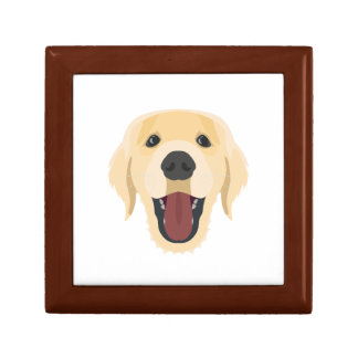 Illustration dogs face Golden Retriver Gift Box