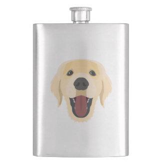 Illustration dogs face Golden Retriver Hip Flask