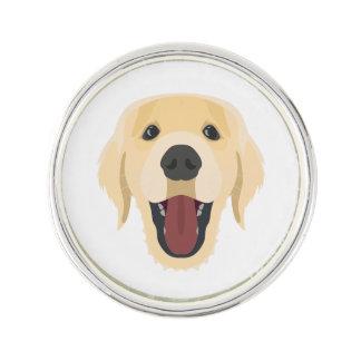 Illustration dogs face Golden Retriver Lapel Pin
