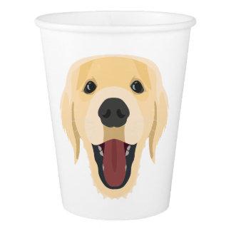 Illustration dogs face Golden Retriver Paper Cup