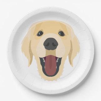 Illustration dogs face Golden Retriver Paper Plate