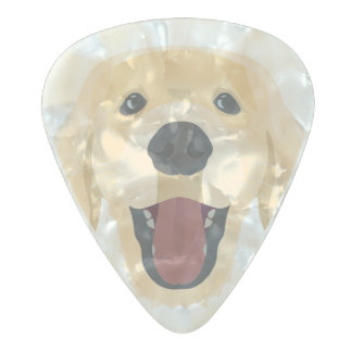 Illustration dogs face Golden Retriver Pearl Celluloid Guitar Pick
