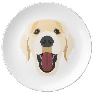 Illustration dogs face Golden Retriver Plate