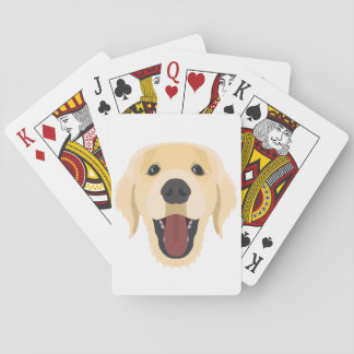 Illustration dogs face Golden Retriver Playing Cards