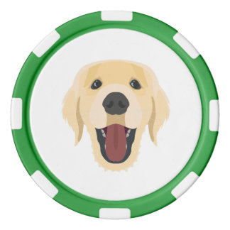 Illustration dogs face Golden Retriver Poker Chips