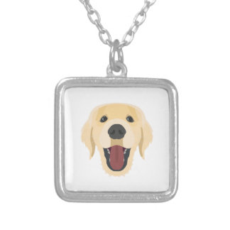 Illustration dogs face Golden Retriver Silver Plated Necklace